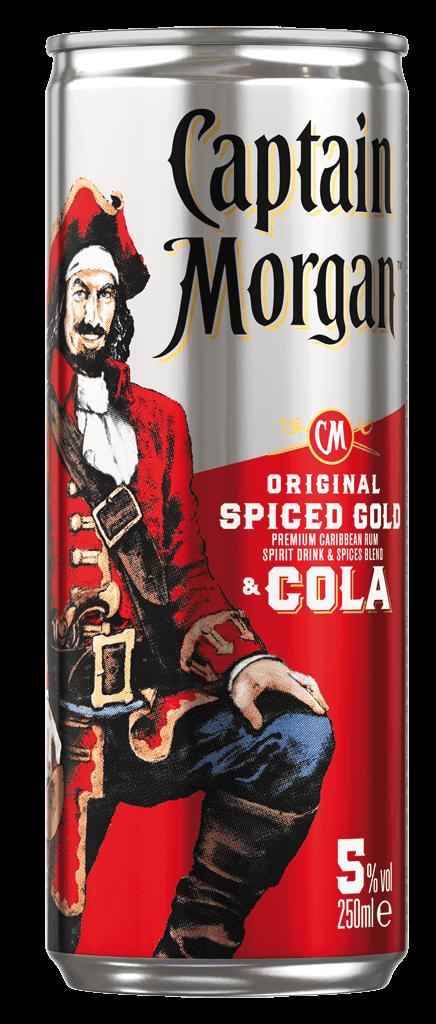 Miešaný Nápoj Captain Morgan Original Spiced Gold & Cola 5% 0,25l Plech